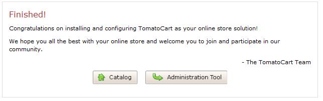 TomatoCart installation step 6
