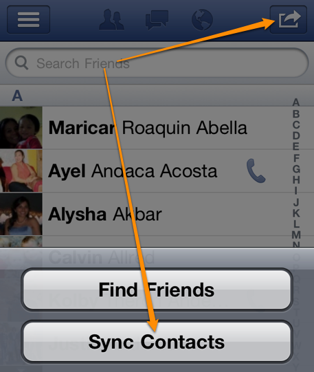 sync facebook contacts with iphone 4s 3